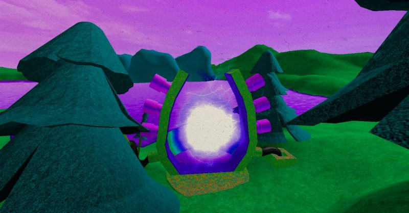A CGI image of a purple lake with green hills and triangle trees with a glowing portal machine on its banks